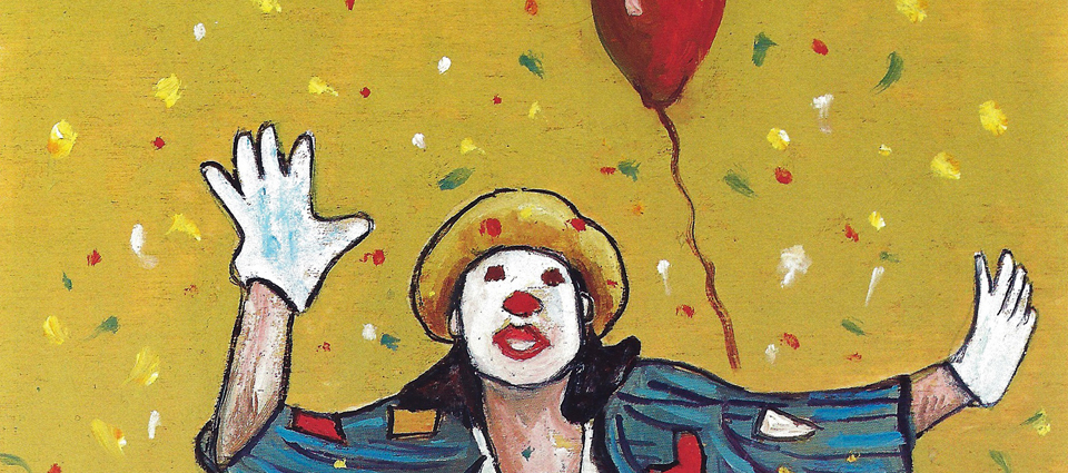 Kuva: Luigi CALLONI — Mouth and foot painter, Italy, Dory the Clown, oil, 35x25