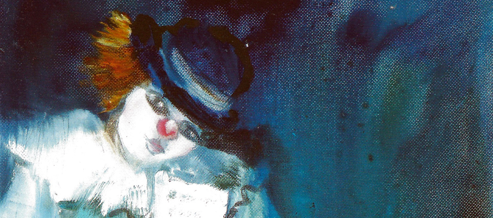 Kuva: Santina PORTELLI — Mouth painter, Italy, Pensive Clown, oil, 35x25